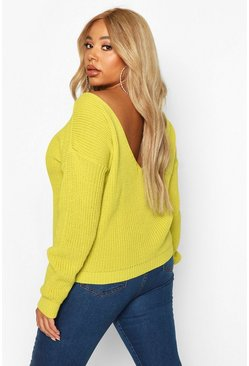 Lime Plus V Back Oversized Jumper