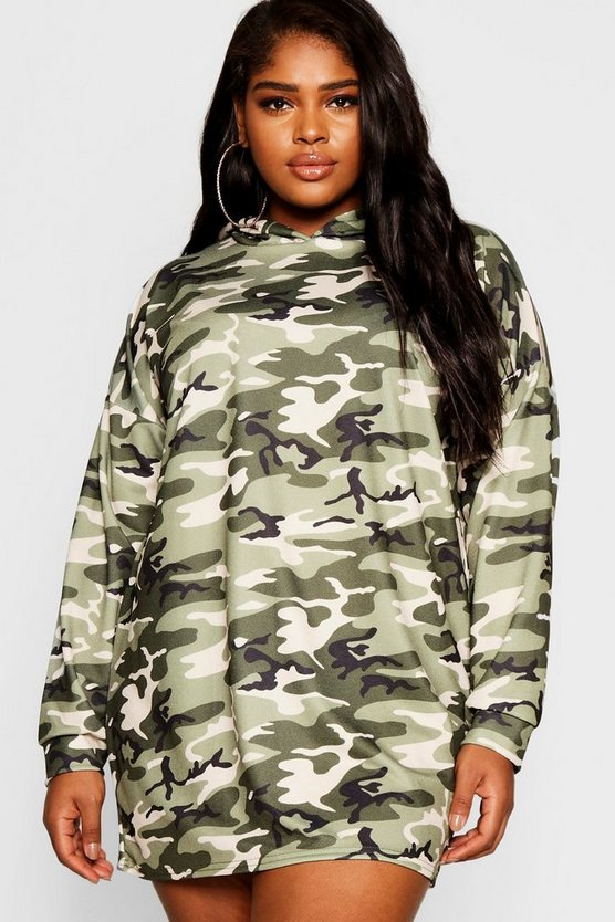 Womens Khaki Plus Camo Hooded Dress