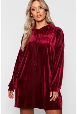 Berry Plus Velvet Hooded Ribbed Dress