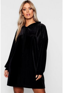 Womens Black Plus Velvet Hooded Ribbed Dress