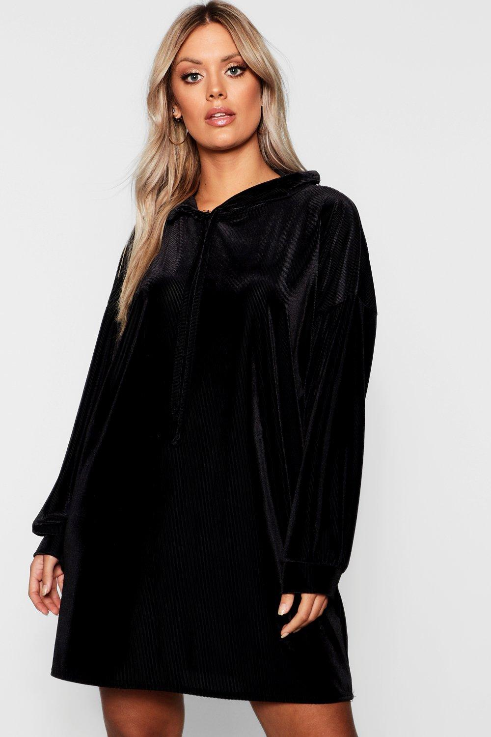 Plus Velvet Hooded Ribbed Dress by Boohoo