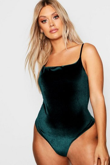 Bottle Plus Velvet Square Neck Bodysuit