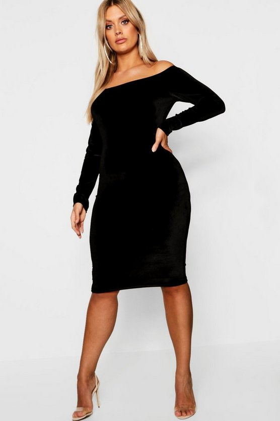 Womens Black Plus Bardot Velvet Midi Dress