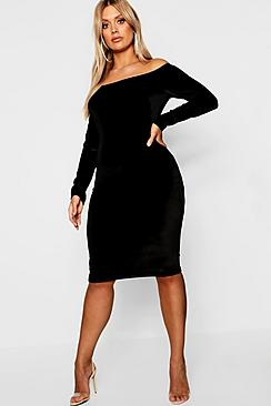 0603851d38f Plus Bardot Velvet Midi Dress