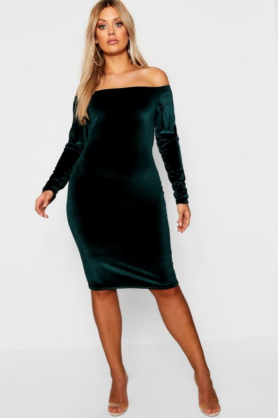 Womens Plus Bardot Velvet Midi Dress