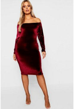 Wine Plus Bardot Velvet Midi Dress