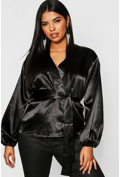 Womens Black Plus Satin Wrap Balloon Sleeve Kimono Top