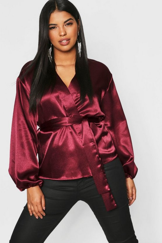 Plus Satin Wrap Balloon Sleeve Kimono Top
