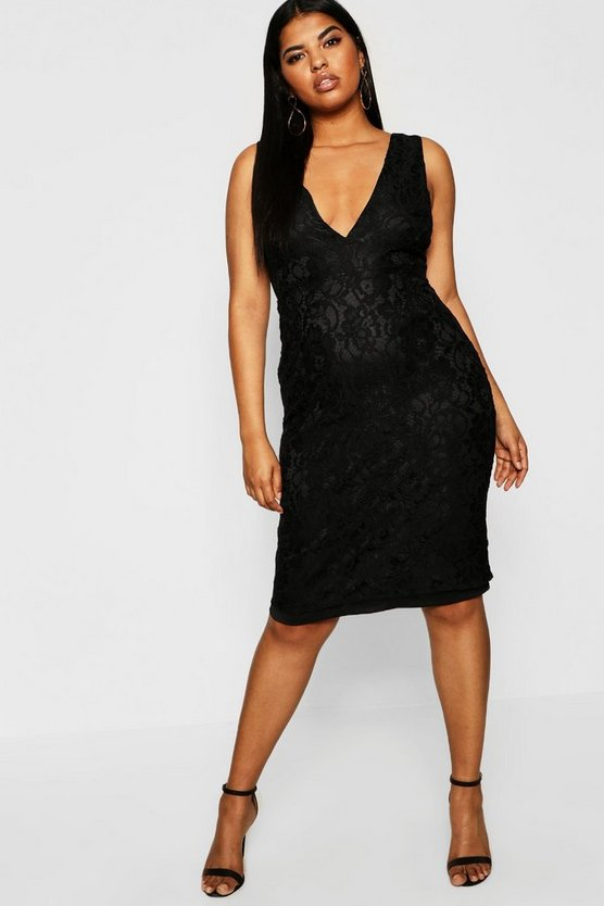 Womens Black Plus Plunge Lace Midi Dress
