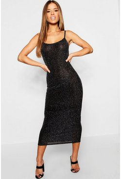 Womens Black Petite Glitter Strappy Midaxi Dress