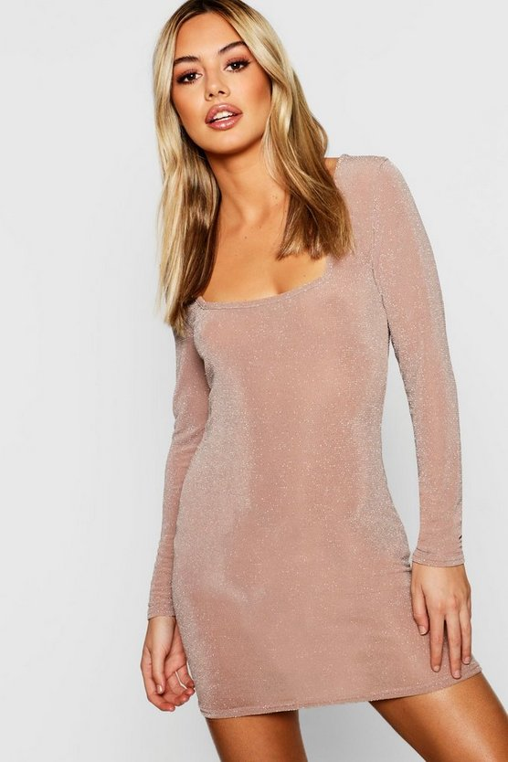 Petite Glitter Square Neck Bodycon Dress