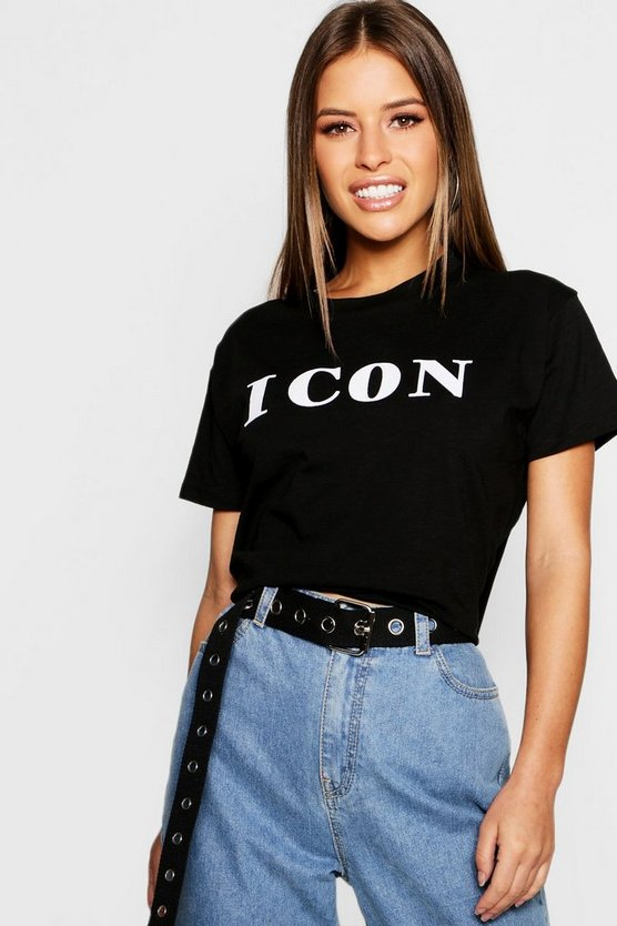 Petite Icon Flocked Slogan T Shirt