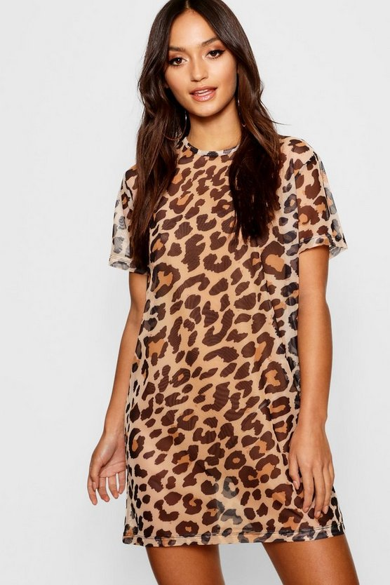 Petite Leopard Print Mesh T Shirt Dress
