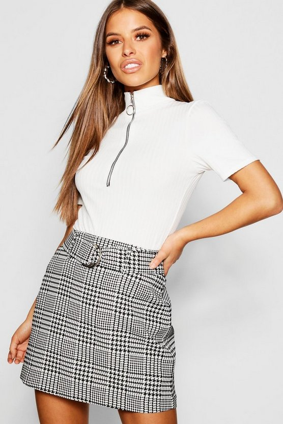 Ivory Petite Houndstooth Jacquard Belted Mini Skirt