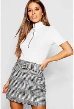 Womens Ivory Petite Houndstooth Jacquard Belted Mini Skirt