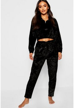 Womens Black Petite Crushed Velvet Jogger