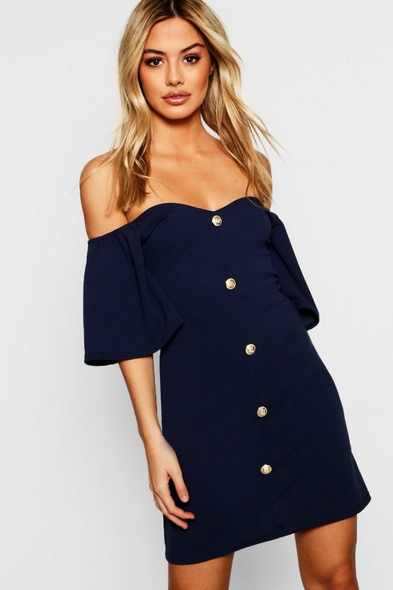 Petite Frill Shoulder Contrast Button Shift Dress