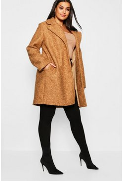 Womens Camel Plus Oversized Faux Fur Teddy Coat