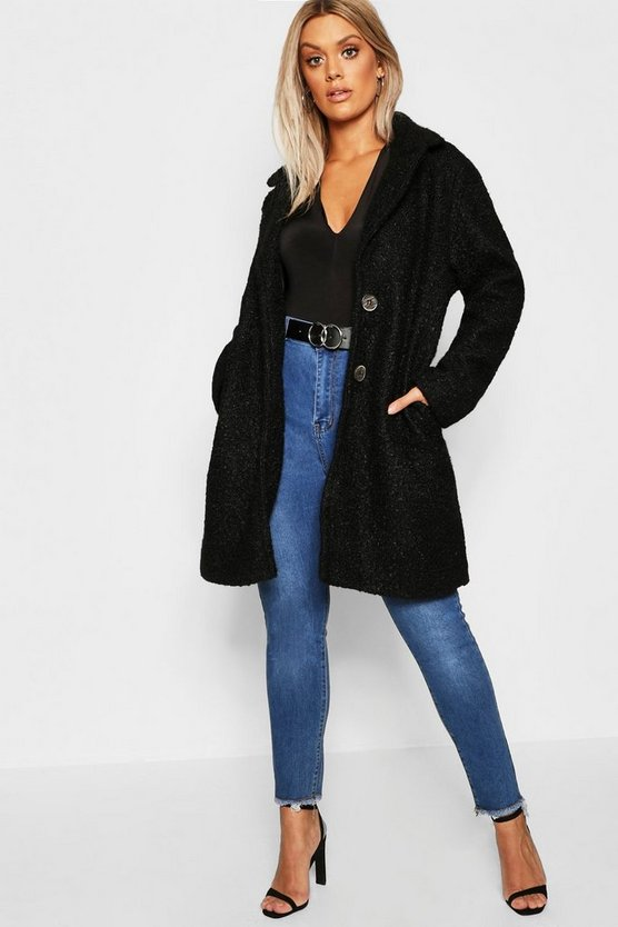 Womens Black Plus Oversized Faux Fur Teddy Coat