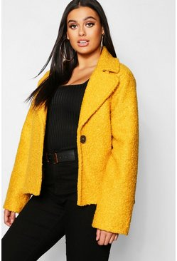 Womens Mustard Plus Short Button Faux Fur Teddy Coat