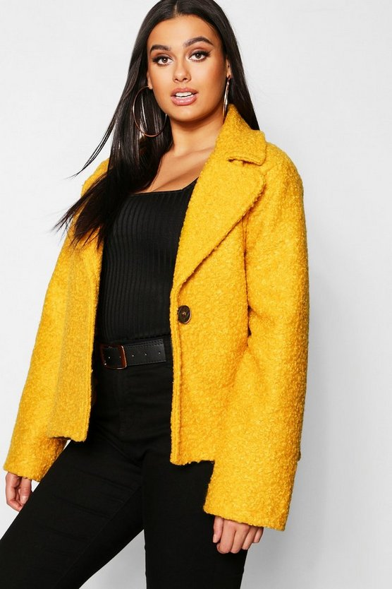 Plius Short Button Teddy Coat, Mustard, Женские