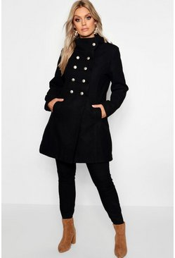 Womens Black Plus Military Wool Look Coat