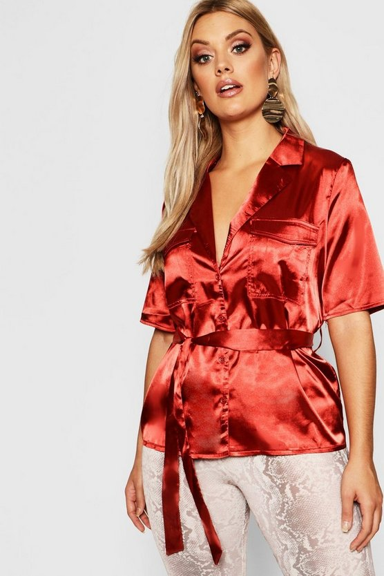 Womens Rust Plus Satin Pocket Front Belted Shirt