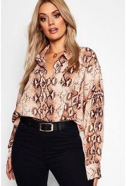 Womens Brown Plus Snake Print Oversized Shirt