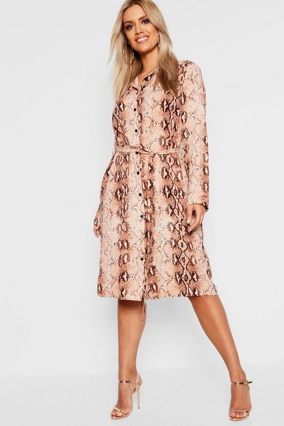 Brown Plus Snake Print Belted Shirt Dress