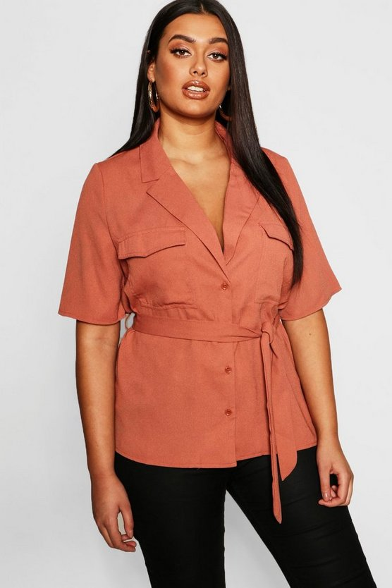 Plus Button Tie Waist Utility Shirt