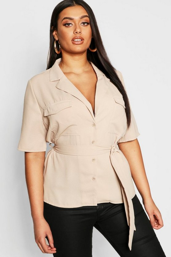 Womens Plus Button Tie Waist Utility Shirt