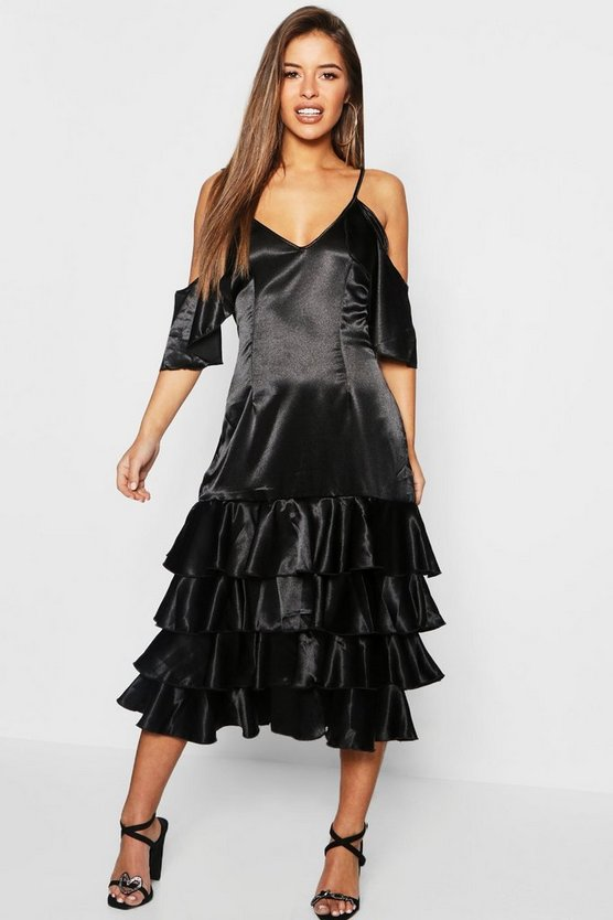 Womens Black Petite Ruffle Hem Cold Shoulder Satin Dress