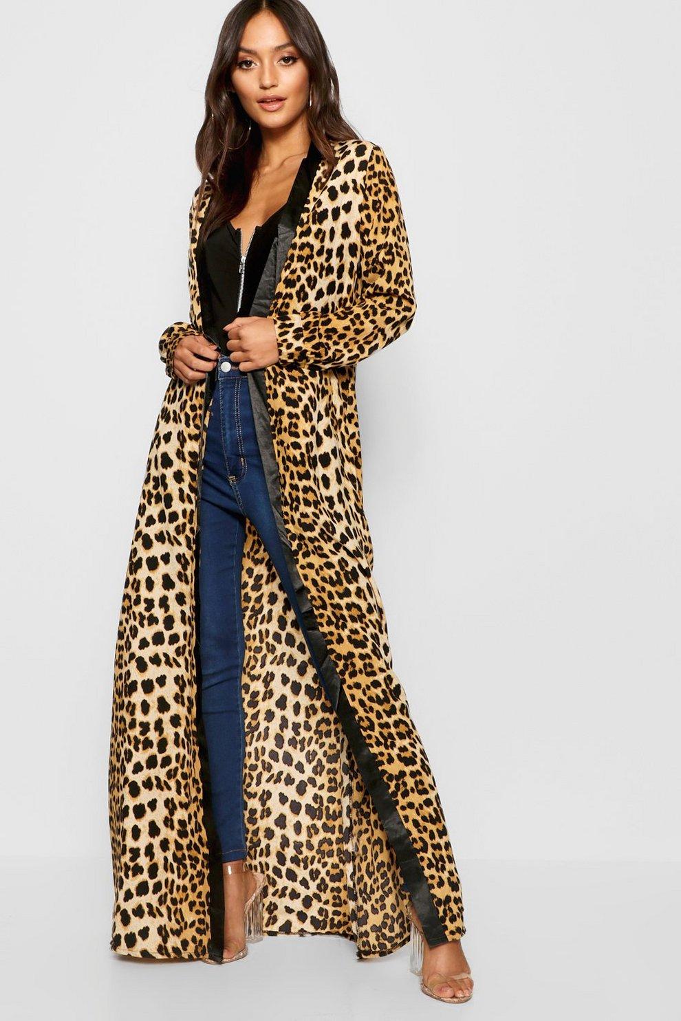 1b0d32755 Petite Leopard Print Maxi Kimono | Boohoo