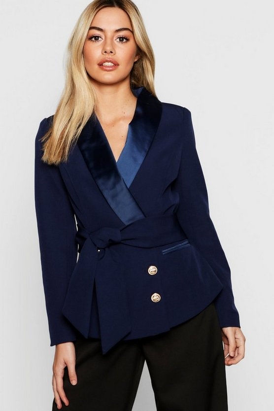 Petite Double Breasted Military Button Blazer