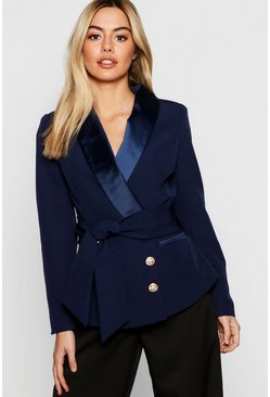 Womens Navy Petite Double Breasted Military Button Blazer