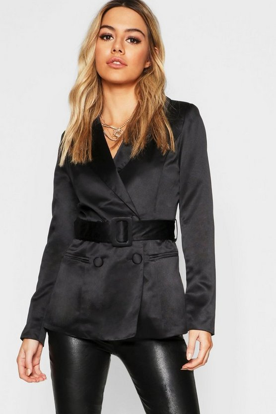 Womens Black Petite Satin Belted Blazer
