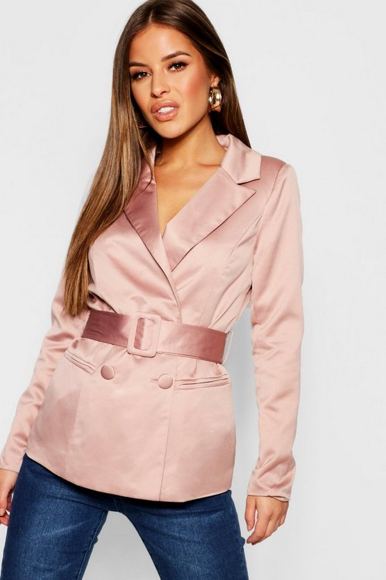 Womens Oyster Petite Satin Belted Blazer