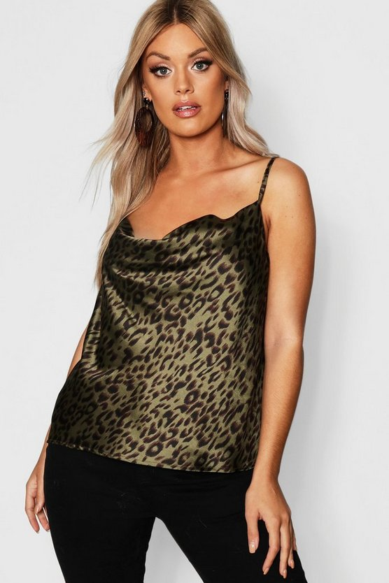 Womens Khaki Plus Satin Printed Cami Cowl Neck