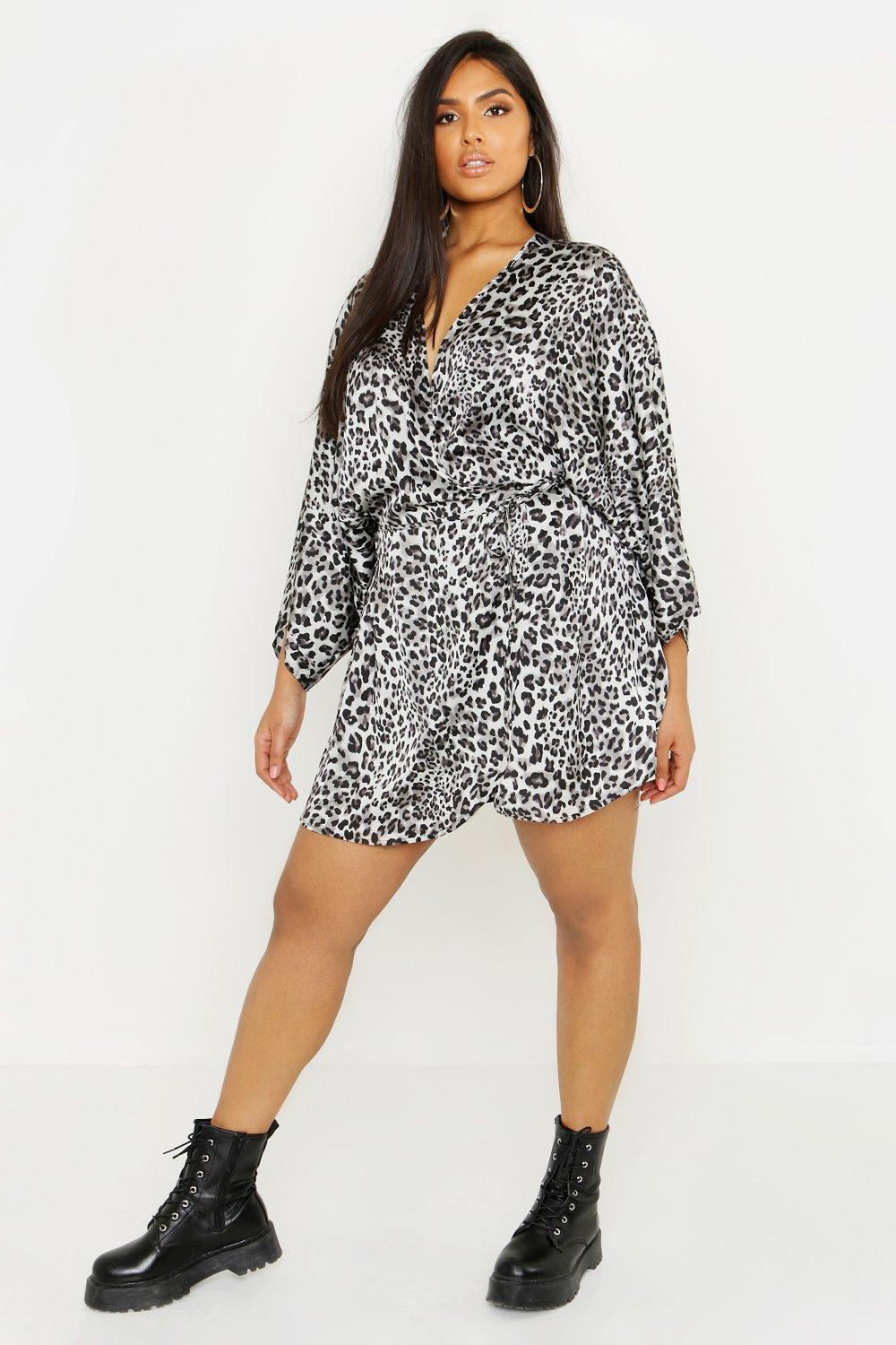 57517b02bcac ... Satin Leopard Print Wrap Dress. Hover to zoom