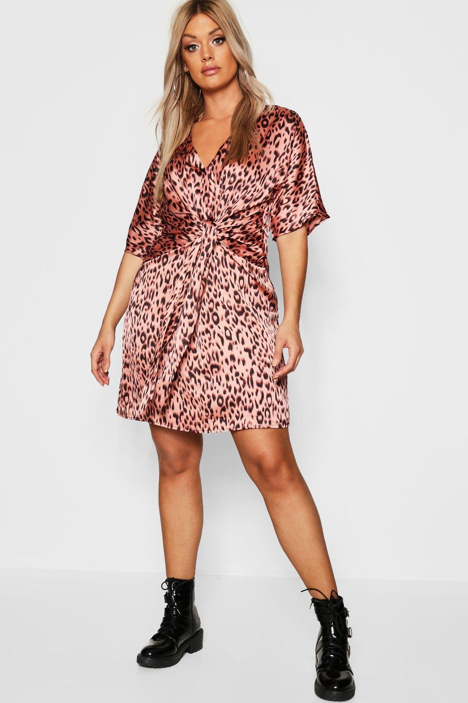 Plus Leopard Tie Front Shift Dress