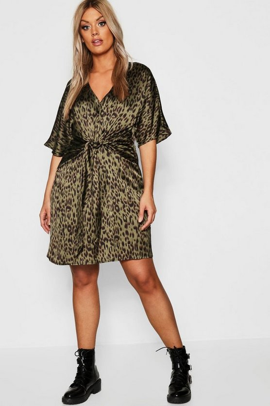 Plus Leopard Tie Front Shift Dress