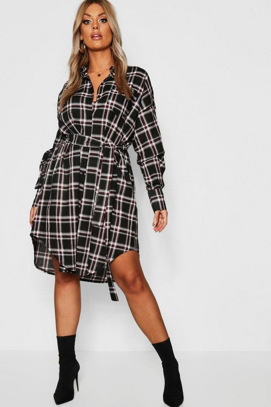 Womens Black Plus Belted Check Shirt Midi Dress