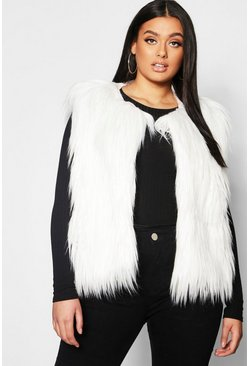 Womens Cream Plus Faux Fur Gillet