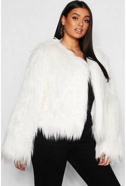 Womens Cream Plus Shaggy Faux Fur Jacket