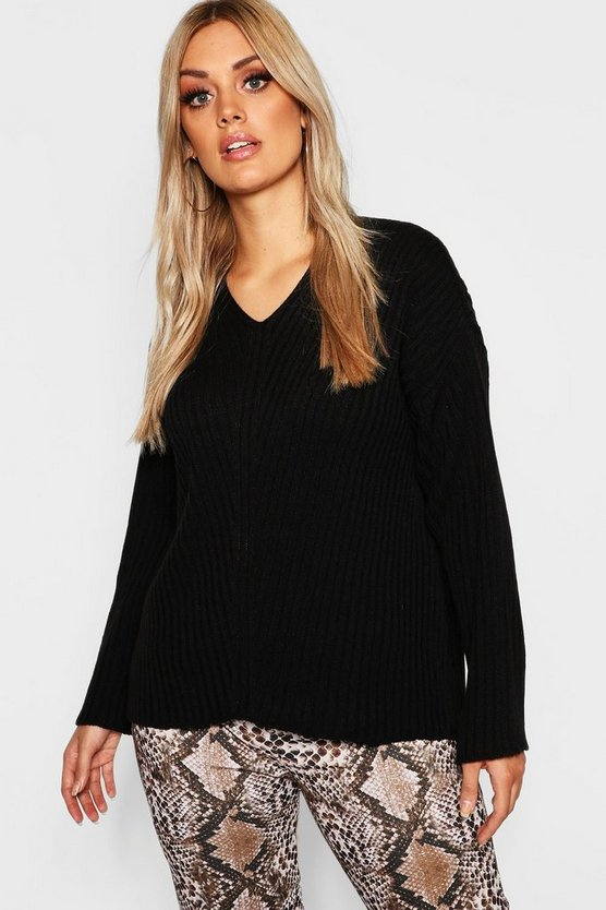 Womens Black Plus Slouchy V Neck Sweater