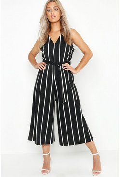 Womens Black Plus Stripe Culotte Belted Jumpsuit