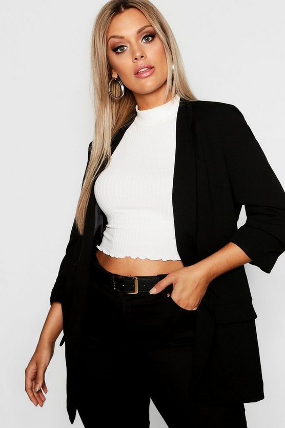 Black Plus Ruched Sleeve Blazer