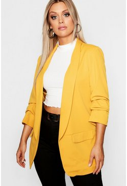 Mustard Plus Ruched Sleeve Blazer