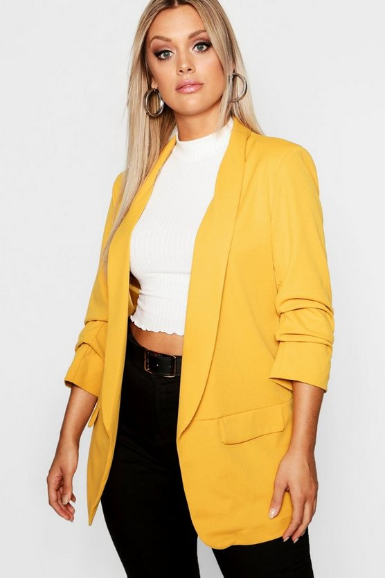 Womens Mustard Plus Ruched Sleeve Blazer