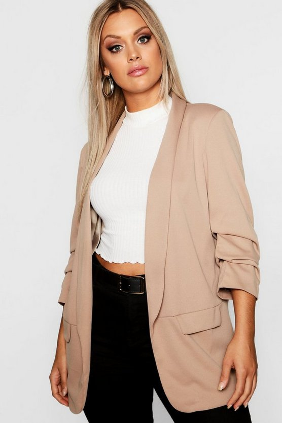 Womens Stone Plus Ruched Sleeve Blazer